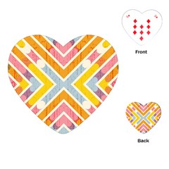 Line Pattern Cross Print Repeat Playing Cards (heart)  by Nexatart