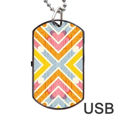 Line Pattern Cross Print Repeat Dog Tag Usb Flash (two Sides) by Nexatart