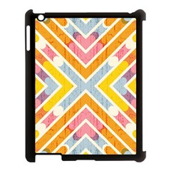 Line Pattern Cross Print Repeat Apple Ipad 3/4 Case (black) by Nexatart