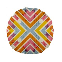 Line Pattern Cross Print Repeat Standard 15  Premium Round Cushions