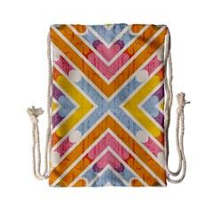 Line Pattern Cross Print Repeat Drawstring Bag (small) by Nexatart