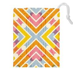 Line Pattern Cross Print Repeat Drawstring Pouches (xxl) by Nexatart