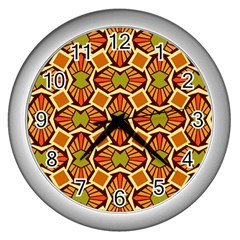 Geometry Shape Retro Trendy Symbol Wall Clocks (silver)