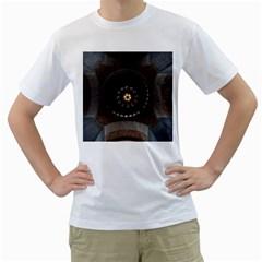 Pattern Design Symmetry Up Ceiling Men s T Shirt (white)