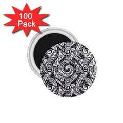 Gray Scale Pattern Tile Design 1 75  Magnets (100 Pack)