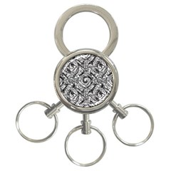 Gray Scale Pattern Tile Design 3 Ring Key Chains