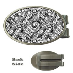 Gray Scale Pattern Tile Design Money Clips (oval)  by Nexatart
