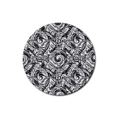 Gray Scale Pattern Tile Design Rubber Round Coaster (4 Pack)  by Nexatart