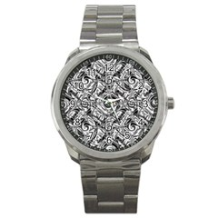 Gray Scale Pattern Tile Design Sport Metal Watch by Nexatart