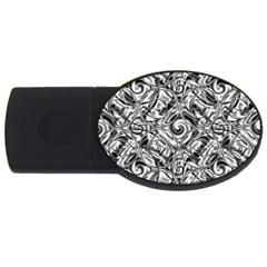 Gray Scale Pattern Tile Design Usb Flash Drive Oval (4 Gb)