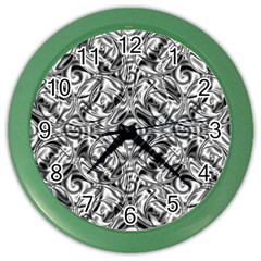 Gray Scale Pattern Tile Design Color Wall Clocks by Nexatart