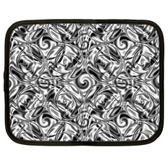 Gray Scale Pattern Tile Design Netbook Case (large) by Nexatart