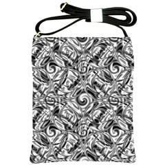 Gray Scale Pattern Tile Design Shoulder Sling Bags