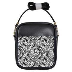 Gray Scale Pattern Tile Design Girls Sling Bags by Nexatart