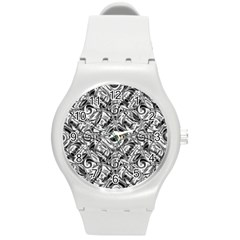 Gray Scale Pattern Tile Design Round Plastic Sport Watch (m) by Nexatart