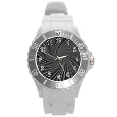 Abstract Art Color Design Lines Round Plastic Sport Watch (l)