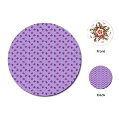 Pattern Background Violet Flowers Playing Cards (round)  by Nexatart