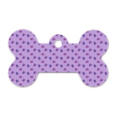 Pattern Background Violet Flowers Dog Tag Bone (two Sides) by Nexatart