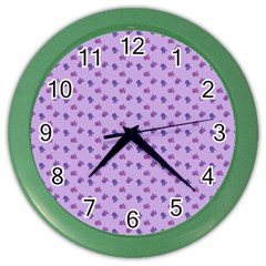 Pattern Background Violet Flowers Color Wall Clocks by Nexatart