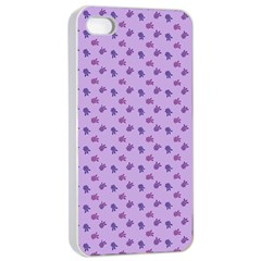 Pattern Background Violet Flowers Apple Iphone 4/4s Seamless Case (white) by Nexatart