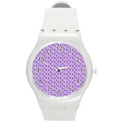 Pattern Background Violet Flowers Round Plastic Sport Watch (m) by Nexatart