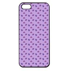 Pattern Background Violet Flowers Apple Iphone 5 Seamless Case (black)