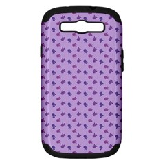 Pattern Background Violet Flowers Samsung Galaxy S Iii Hardshell Case (pc+silicone) by Nexatart