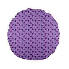 Pattern Background Violet Flowers Standard 15  Premium Round Cushions