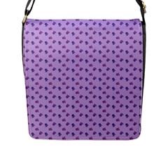 Pattern Background Violet Flowers Flap Messenger Bag (l)