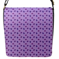 Pattern Background Violet Flowers Flap Messenger Bag (s)