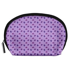 Pattern Background Violet Flowers Accessory Pouches (large)