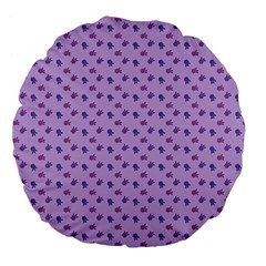 Pattern Background Violet Flowers Large 18  Premium Flano Round Cushions by Nexatart