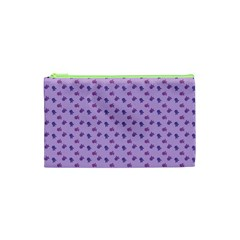 Pattern Background Violet Flowers Cosmetic Bag (xs) by Nexatart