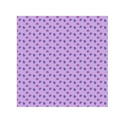 Pattern Background Violet Flowers Small Satin Scarf (square)