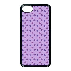 Pattern Background Violet Flowers Apple iPhone 7 Seamless Case (Black)