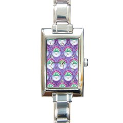 Background Floral Pattern Purple Rectangle Italian Charm Watch
