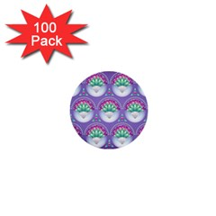 Background Floral Pattern Purple 1  Mini Buttons (100 Pack)
