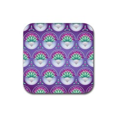 Background Floral Pattern Purple Rubber Square Coaster (4 Pack)  by Nexatart
