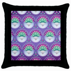 Background Floral Pattern Purple Throw Pillow Case (black) by Nexatart