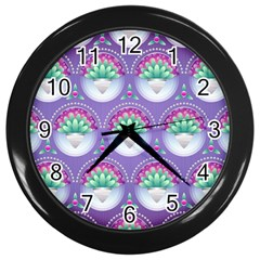 Background Floral Pattern Purple Wall Clocks (black)