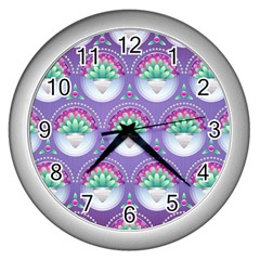 Background Floral Pattern Purple Wall Clocks (silver)  by Nexatart