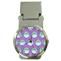Background Floral Pattern Purple Money Clip Watches by Nexatart