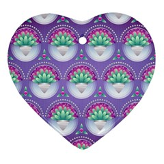 Background Floral Pattern Purple Heart Ornament (two Sides) by Nexatart