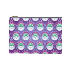 Background Floral Pattern Purple Cosmetic Bag (large)