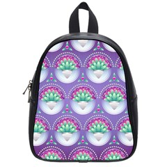 Background Floral Pattern Purple School Bags (small)  by Nexatart