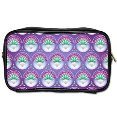 Background Floral Pattern Purple Toiletries Bags 2 Side by Nexatart