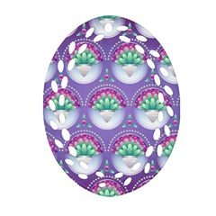 Background Floral Pattern Purple Oval Filigree Ornament (two Sides)