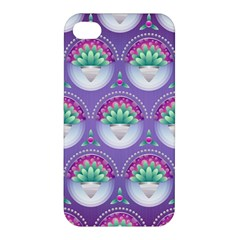 Background Floral Pattern Purple Apple Iphone 4/4s Premium Hardshell Case