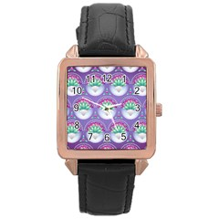 Background Floral Pattern Purple Rose Gold Leather Watch