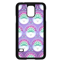 Background Floral Pattern Purple Samsung Galaxy S5 Case (black) by Nexatart